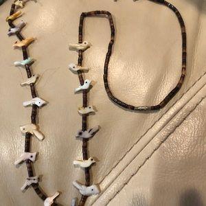 Heishi bead and bird fetish Navajo Necklace